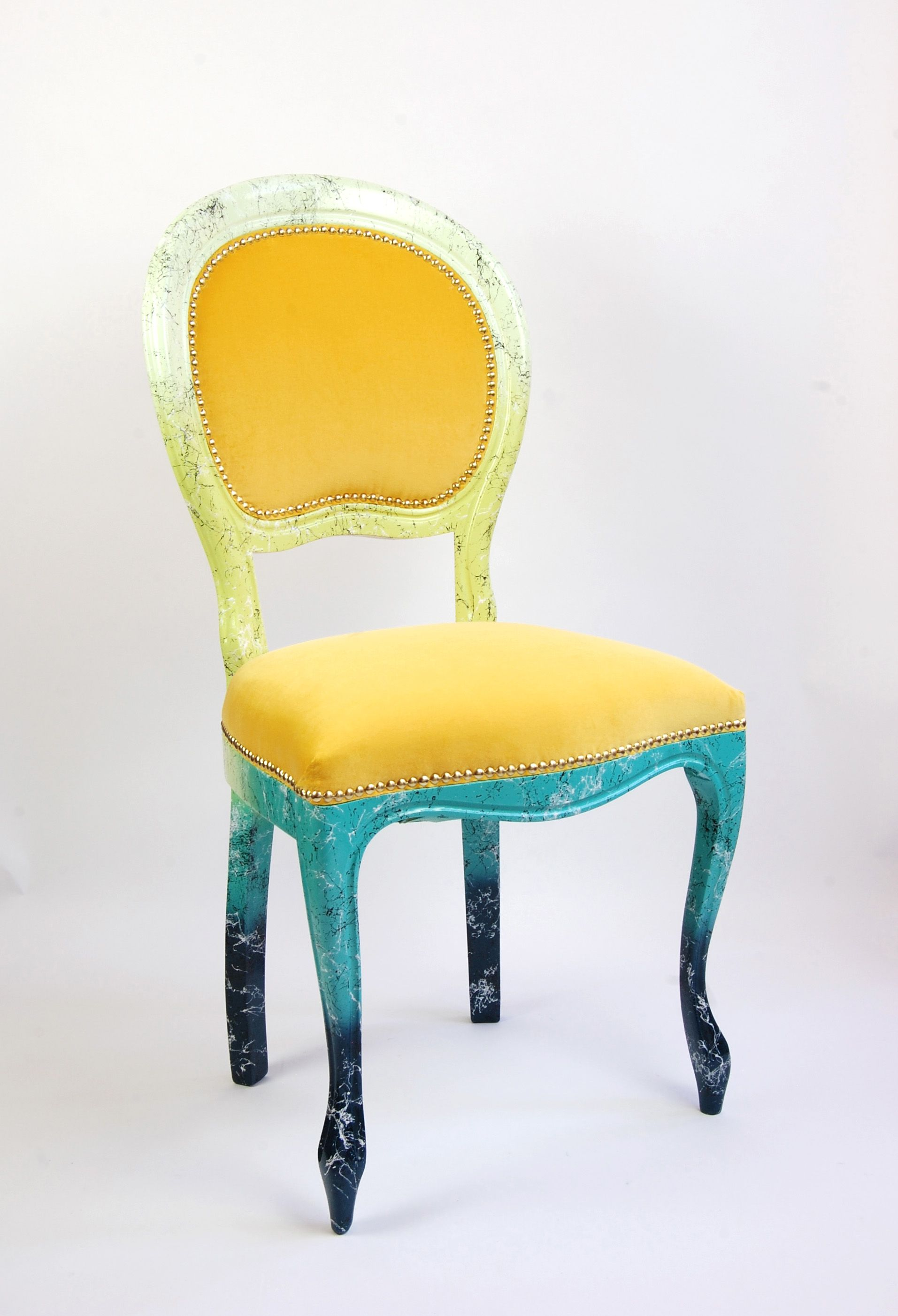The Millefiori Bright Marble Painted Occasional Chair In Yellow