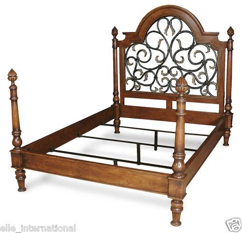 Solid Walnut Iron Queen Size Bed Frame Artichoke Finials Arched ...