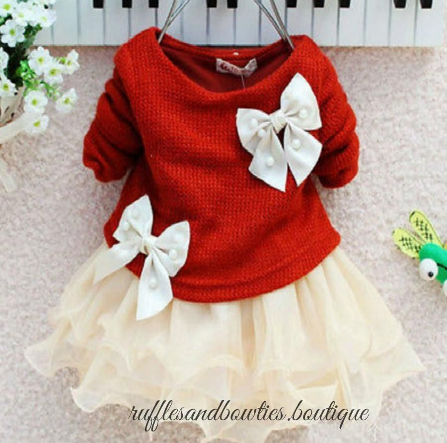 PRE ORDER - Oh those Bows Girls Sweater Christmas Dress - Girls ...