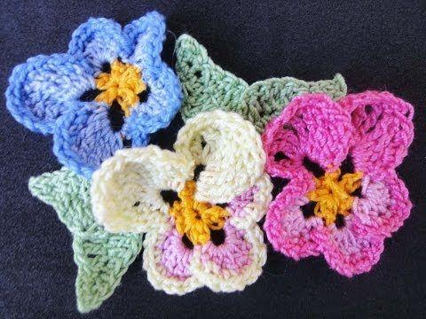 Цветок Анютины глазки Pansy Flower Crochet - YouTube | knit ...