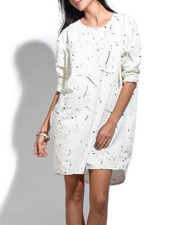 This White Splatter Long-Sleeve Shift Dress is perfect! #zulilyfinds