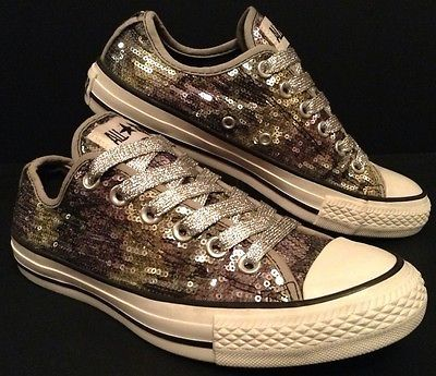 Converse All Star Low Silver Sequin Glitter Shoes Sz 5 UK Mens 7 Womens LTD  37.5 21795fc38