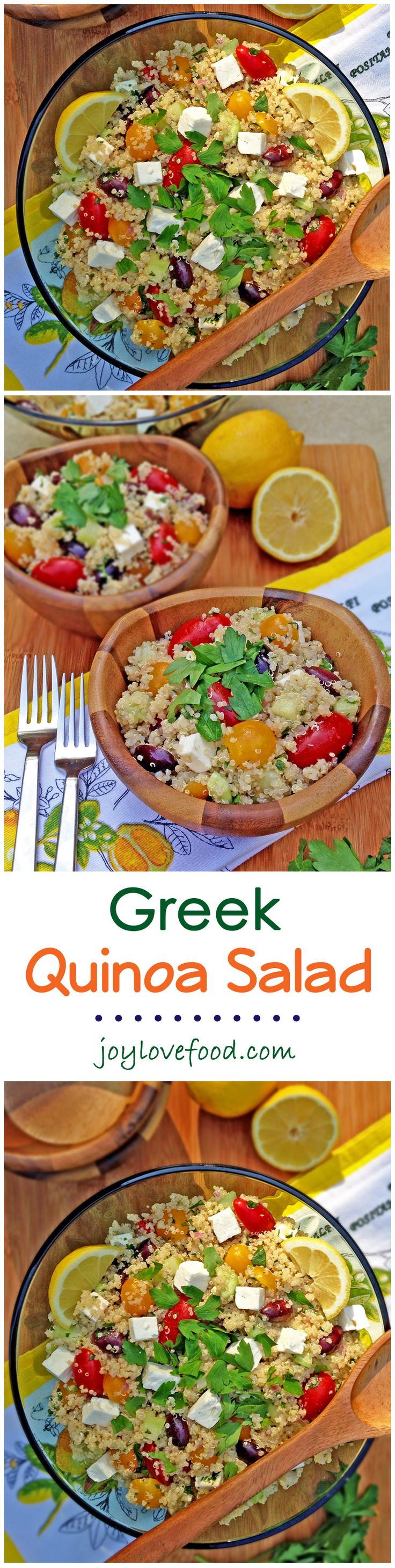 A quick and healthy salad for lunch or dinner. This is an easy recipe for Greek Quinoa Salad