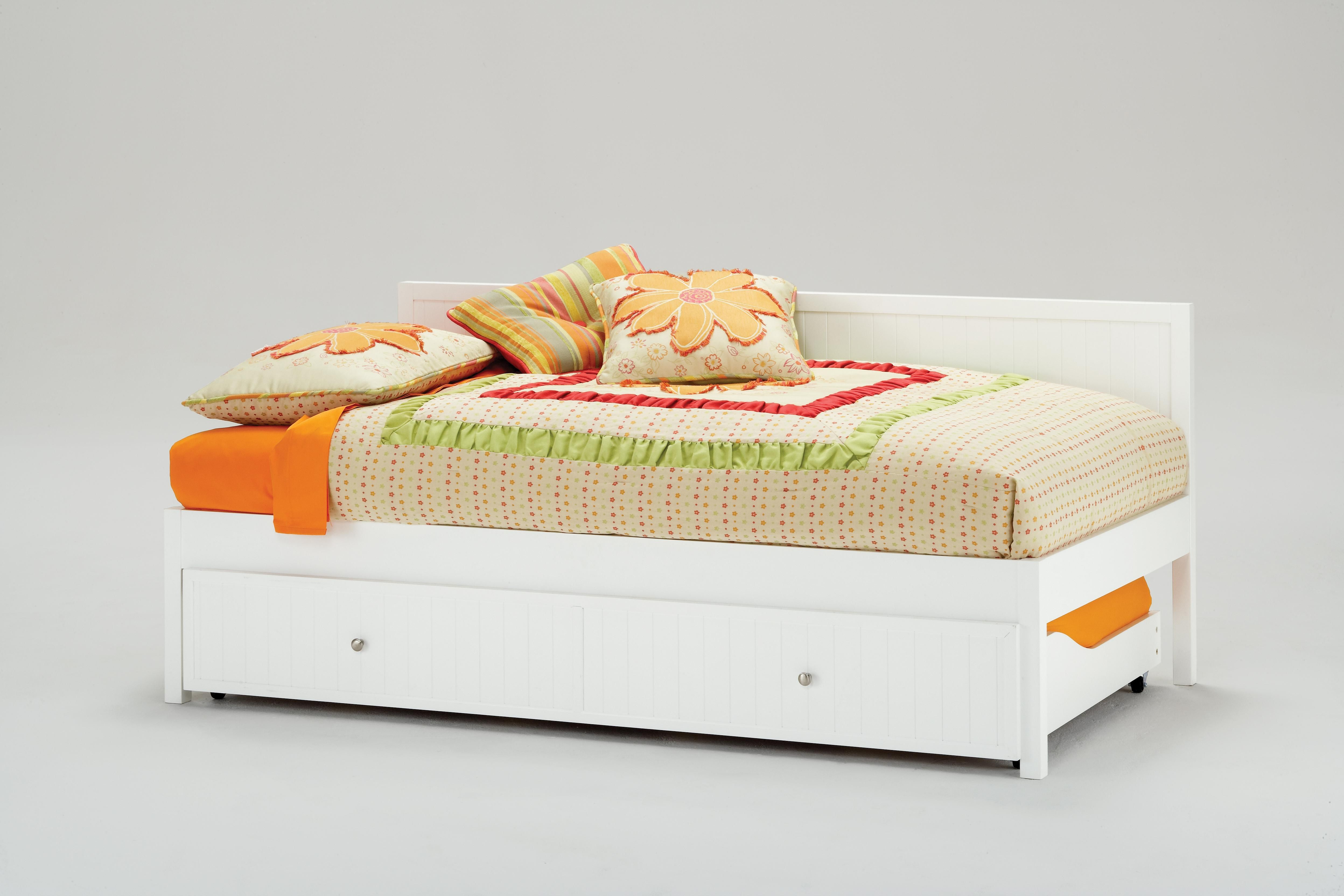 Modern Bed Ideas With Pop Up Trundle Bed: White Wooden Daybed With ...