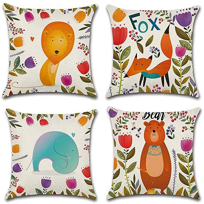 JUMUU Set of 4 Cotton-Linen Decorative Throw Pillow Covers Cute Cartoon Flowers Pattern Accent Handmade 18x18 Inch Square Cushion Cover Pillowcase for Sofa Couch Bed Leaf, 45 x 45cm