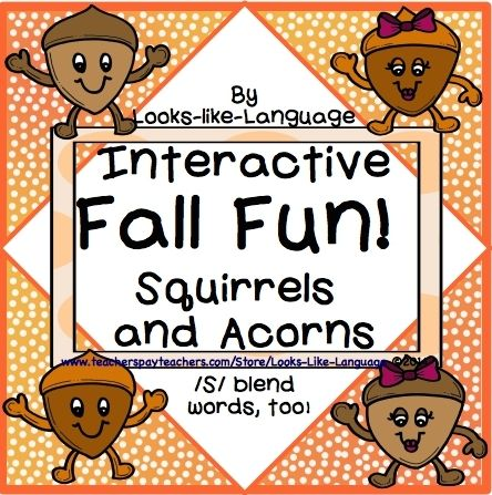 Interactive open ended squirrel and acorn games and activities! Practice any work, but /s/ blend pictures are provided! $