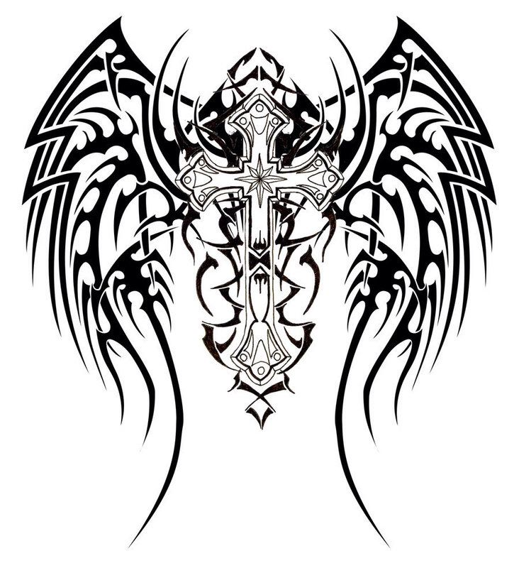 Tribal Cross With Wings Canvas Ideals Tattoos Tattoo Designs
