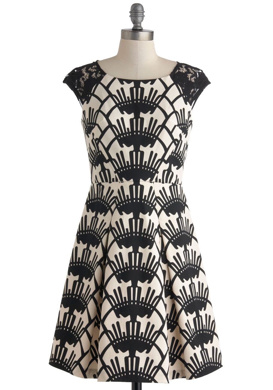 Black and White Party Dress - Black, White, Print, Lace, Party ...
