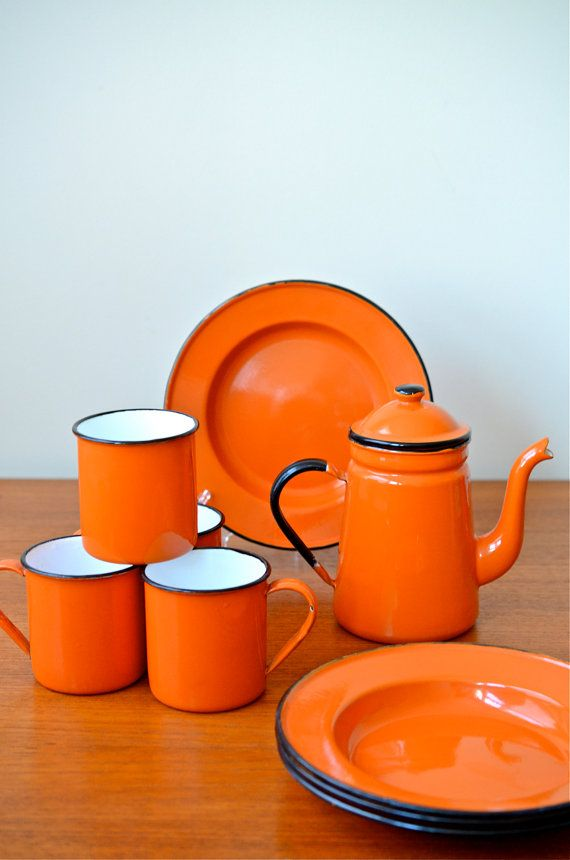 Orange or yellow are my favorites..... (aw) Vintage Set of Japanese Orange Enamelware Plates mugs and coffee/ tea pot & Vintage Set of Japanese Orange Enamelware Coffee or Tea Pot Mugs ...