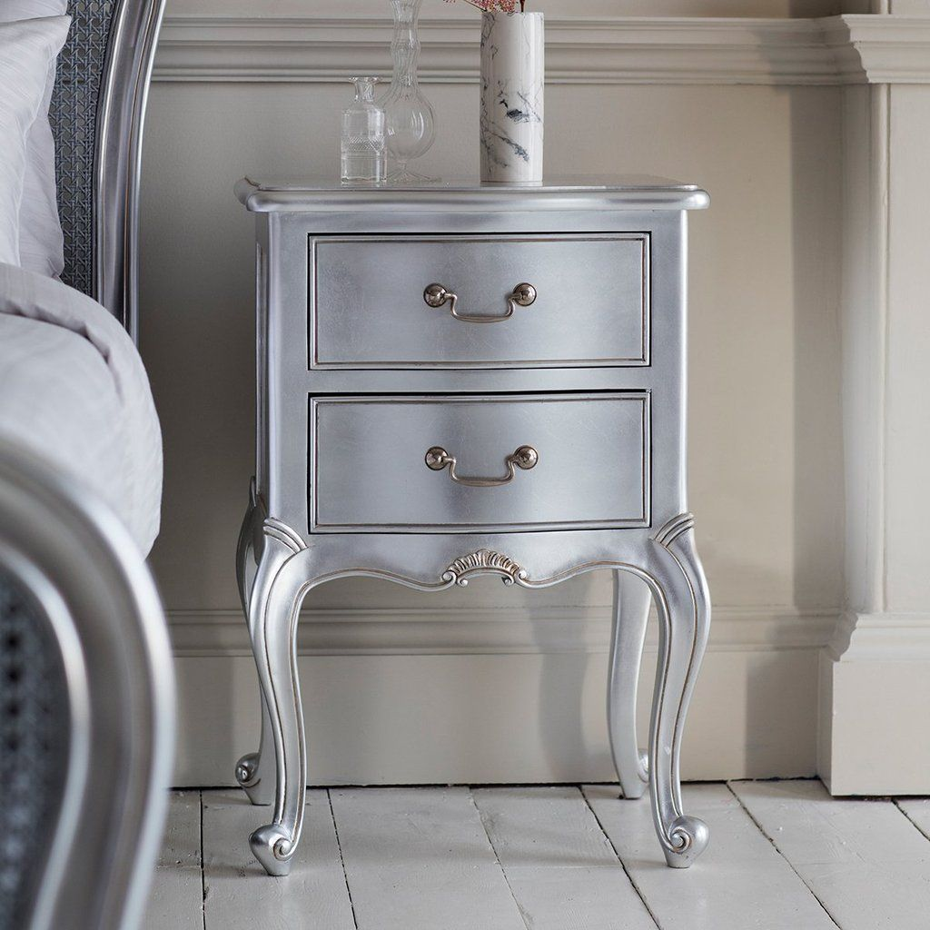 Chic Bedside Table in Silver Homelia
