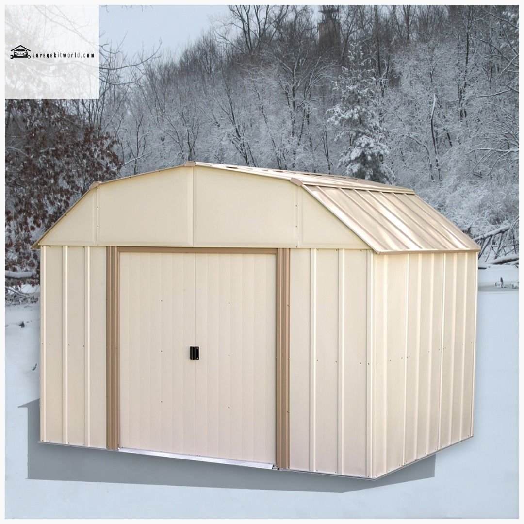 Lexington 10 X 8 Ft Taupe Eggshell Barn Style Steel Storage Shed In 2020 Steel Storage Sheds Carport Designs Roof Design