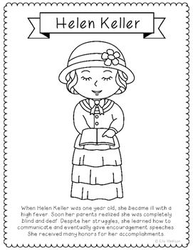 Helen Keller Coloring Page Craft Or Poster With Mini Biography Braille Helen Keller Activities Helen Keller Coloring Pages