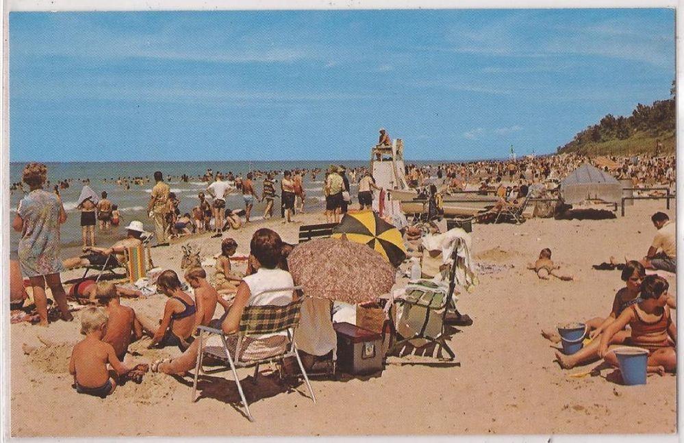 1960s Indiana Dunes State Park Postcard Bathing Beach Scene Families Chesterton