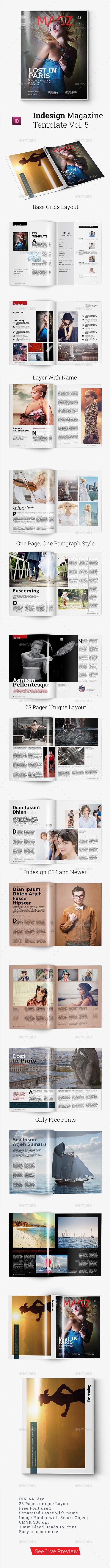 Magazine Template Vol.5 | Template, Print templates and Indesign ...