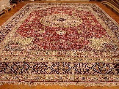 Red 12x18 Silk Area Rug Persian Josheghan Design Traditional Carpet Bestrugplace