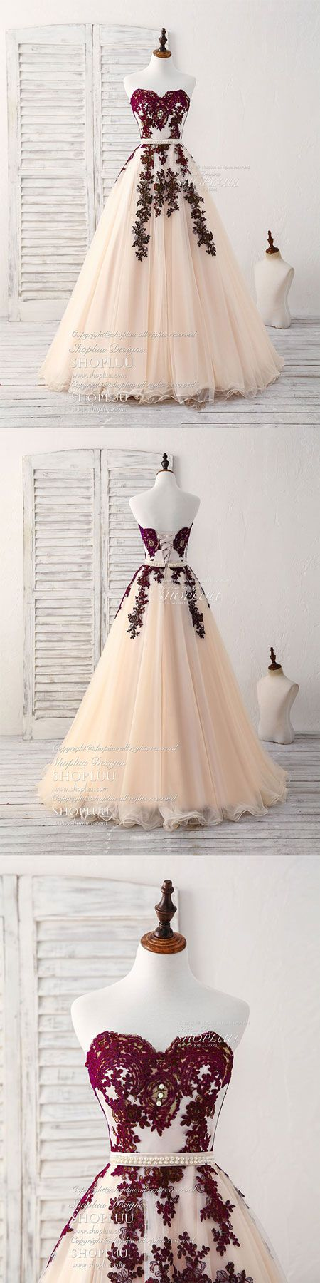 Burgundy sweetheart tulle long prom dress, burgundy evening dress #eveningdresses