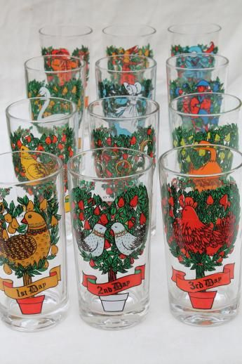 12 days of christmas drinking glasses set christmas dishes christmas tables christmas dinnerware - Christmas Drinking Glasses