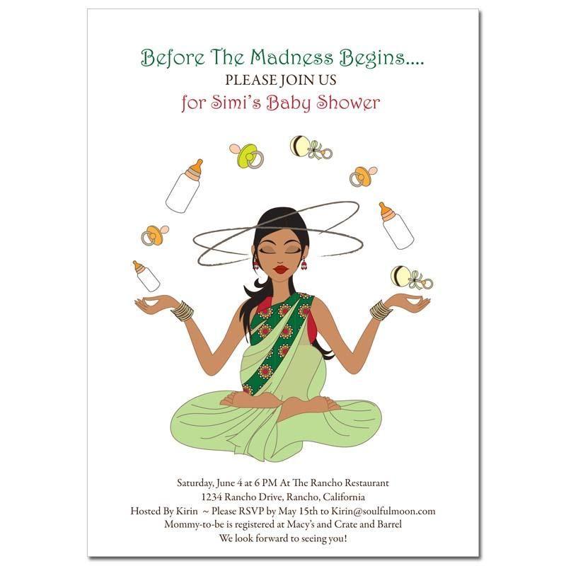 Indian Baby Shower Invitations Meditating Mommy Baby Shower