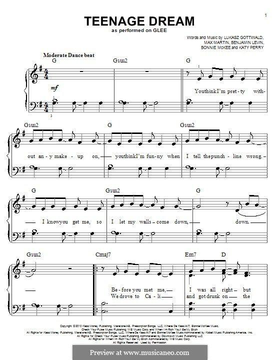 Teenage Dream For Easy Piano By Benjamin Levin Bonnie Mckee Katy
