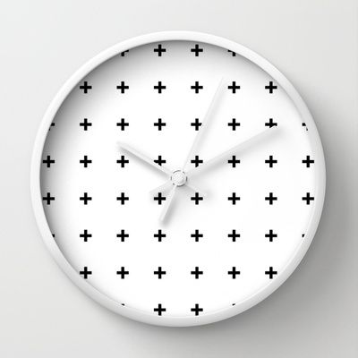Black Cross on White // Black Plus on White Wall Clock
