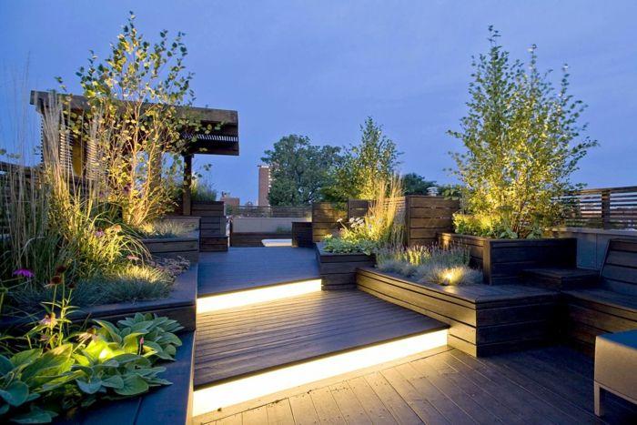 bepflanzung dachterrasse beleuchtung und trepepn | Balcons | Pinterest