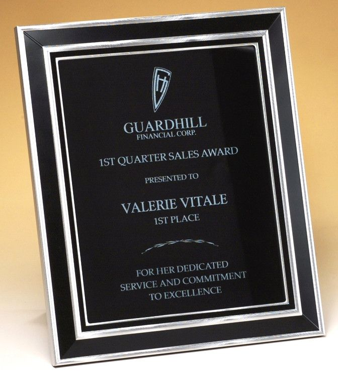 our black frame plaque features a black and silver engraving plate
