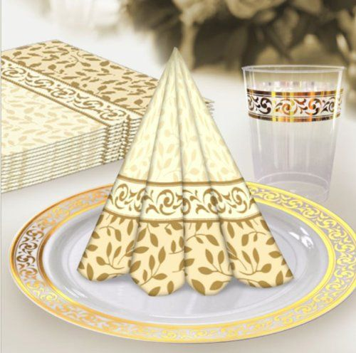 Decor Premium Heavy Weight Disposable Elegant Dinnerware Classic Collections Gold \u0026 Ivory (A Classic  sc 1 st  Pinterest & Decor Premium Heavy Weight Disposable Elegant Dinnerware Classic ...