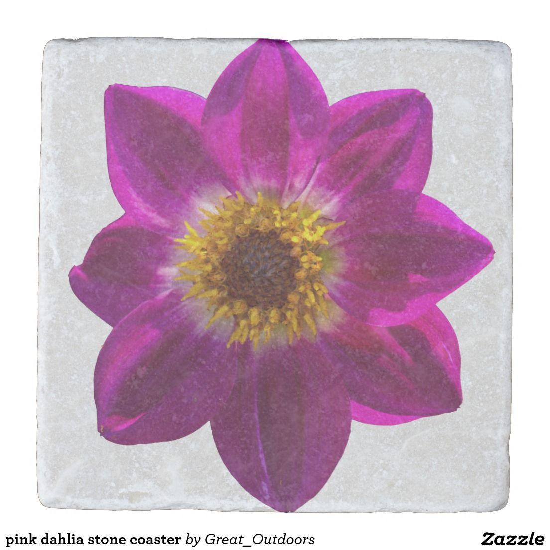 pink dahlia stone coaster