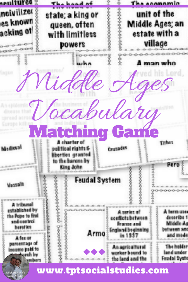 Middle Ages Vocabulary Activity Vocabulary Activities Middle Ages