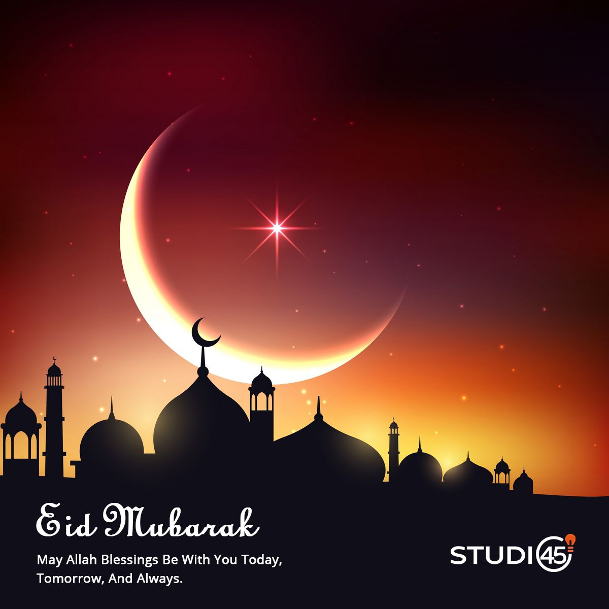 Belated Eidmubarak To All From Studio45in Family May Allah Blessings Be With You Today Tomorrow And Always Eid Background Ramadan Kareem Islamic Posters