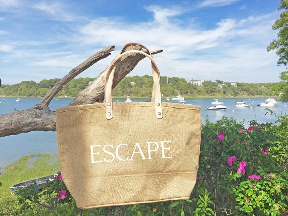 Wedding Tote Bag/ Relax Tote Bag with Leather Handles/ Burlap