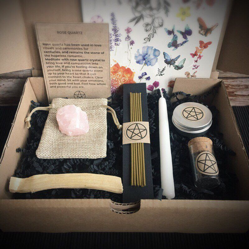 39a3b8ce Excited to share this item from my #etsy shop: Basic Witch Kit ~ Witch Gift  Box ~ Altar Accesories ~ Candles & Incense ~ Crystals ~ Witchcraft ~ Wicca  ...