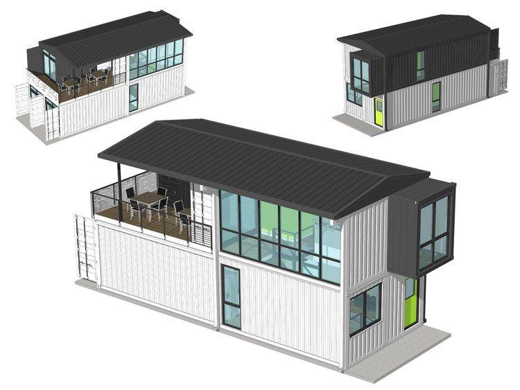 Foxworth Architecture - Container House 2 - Louisville, KY (Aerial - plan maison en forme de u