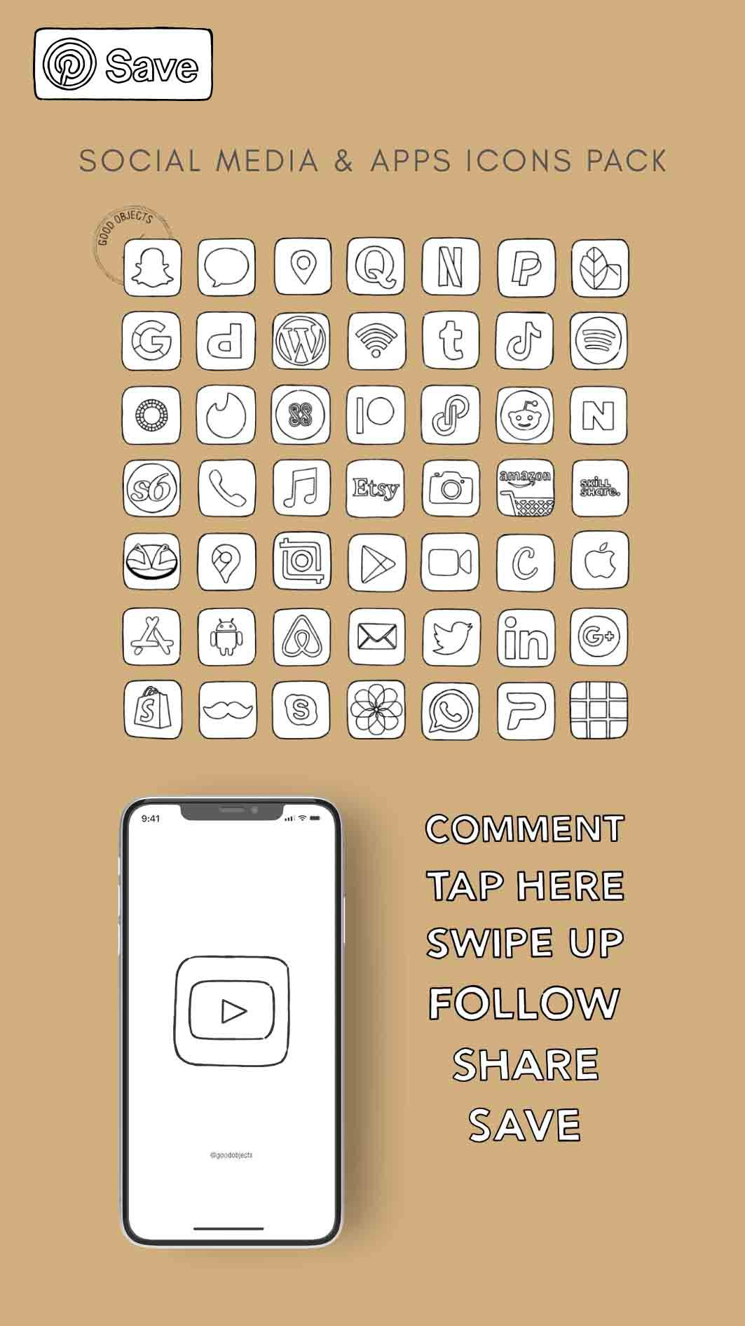Social Media & Apps Icons Pack - Black and white + beige watercolor icons