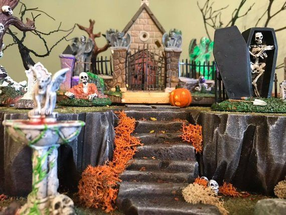 Custom Halloween Village Display Platform (Lemax, Department 56, Spookytown)