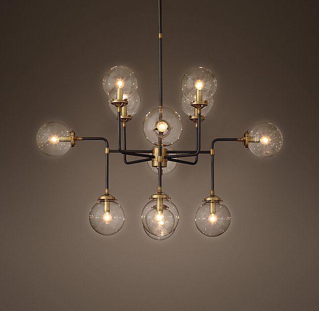 Bistro Globe Clear Glass 12-Light Chandelier Longridge Formal Living ...