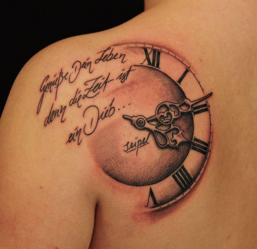 Voorbeelden Van Klok En Horloge Tattoos Clock Tattoo Clock Tattoo Design Tattoos