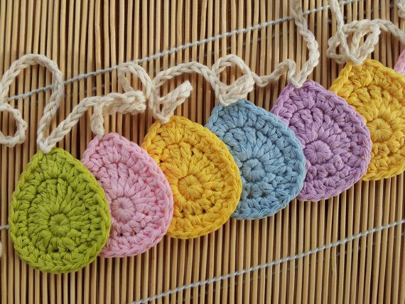 Easter Egg Crochet Garland Bunting Spring Home Decor | De época ...