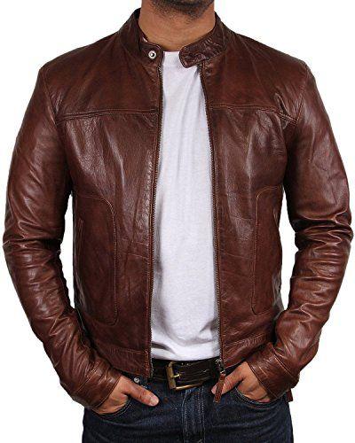 Blouson cuir brun homme