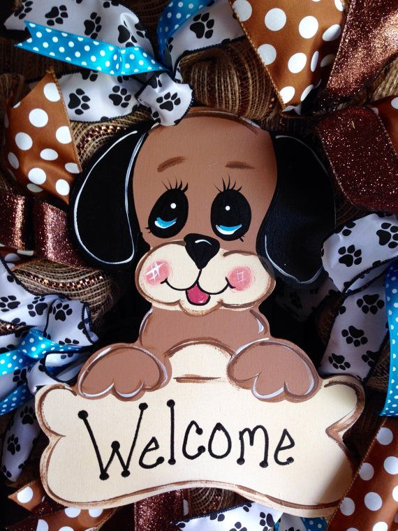 Puppy wreath welcome wreath dog lover by SouthernBlossomsShop