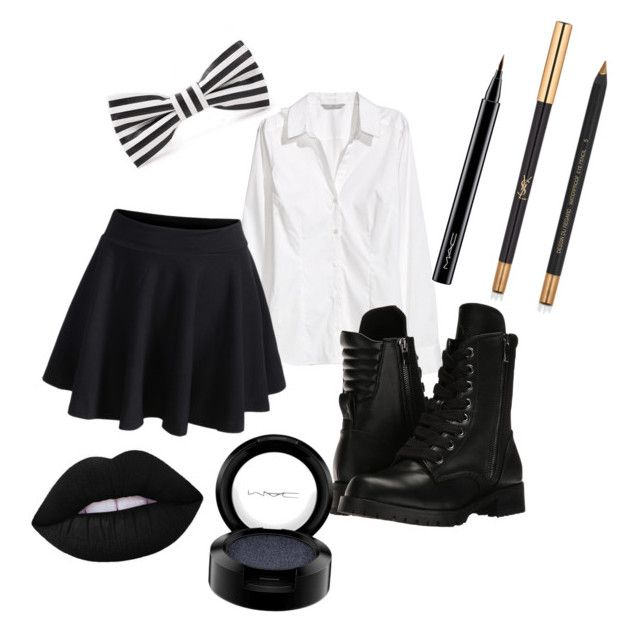 """Me in Highschool😅"" by grapesoda-1 on Polyvore featuring H&M, WithChic, Capezio, MAC Cosmetics and Yves Saint Laurent"