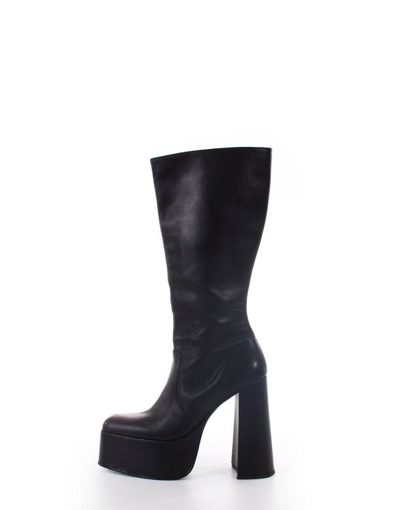 13a41796713 90s vintage platform boots. Super tall platform with a 5.5 heel! Matte  black genuine leather upper. Faux leather wrapped platform and heel.