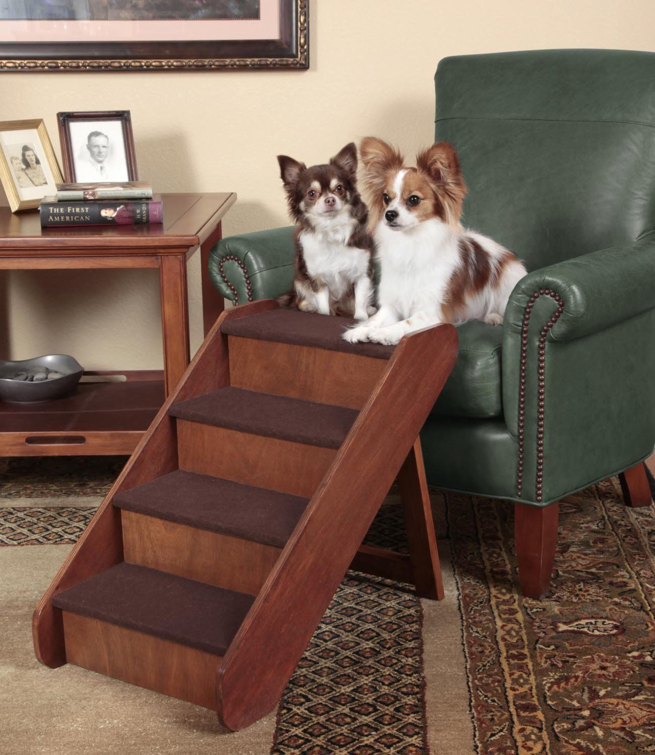 Large Wooden Pet Stairs Made Of Real Wood With Walnut