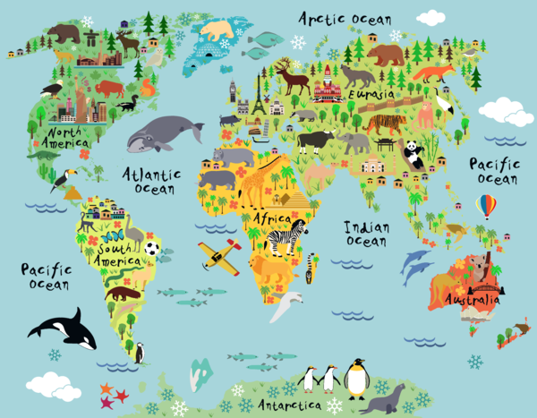 World Map Decal, Countries of the World Map, Kids Country World