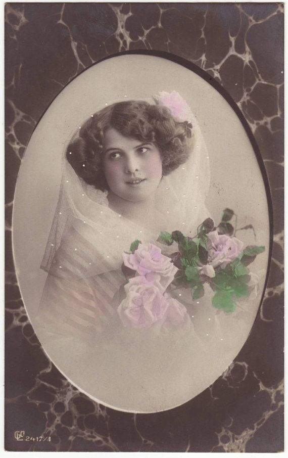 German Postcard  Girl Young Woman Bride Wearing Veil Roses