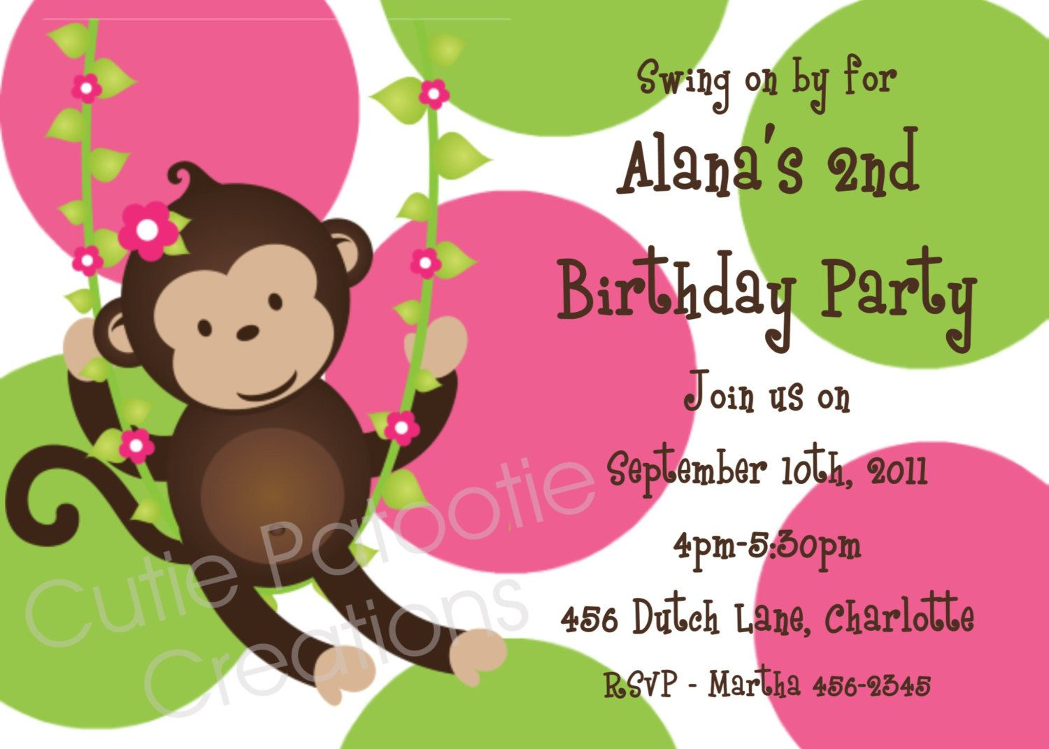 Monkey Birthday Invitation - Printable or Printed - Pink and Green ...