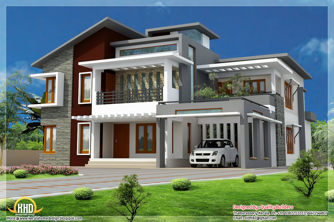 Small modern homes superb home design contemporary modern style kerala home design and - Kerala exterior model homes ...