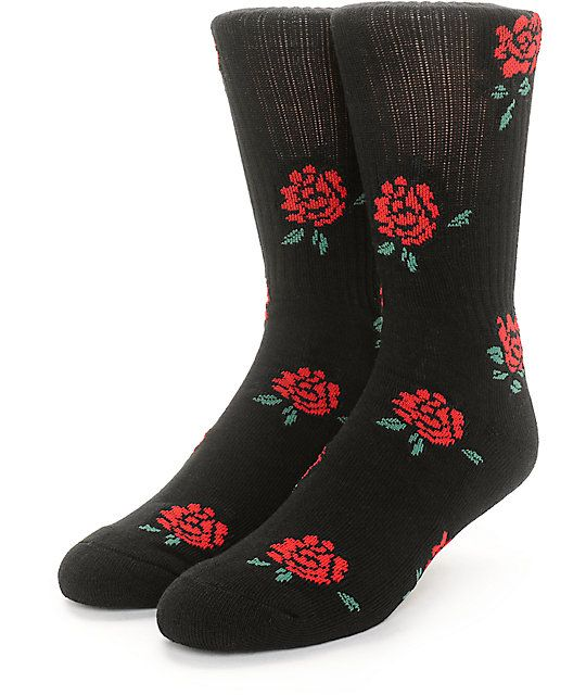 Show a softer side with the Hightime black crew socks with a jacquard knit roses throughout and Obey logo details on the upper cuff and footbed. The footbed is slightly padded for comfort and will add some floral style to your wardrobe.