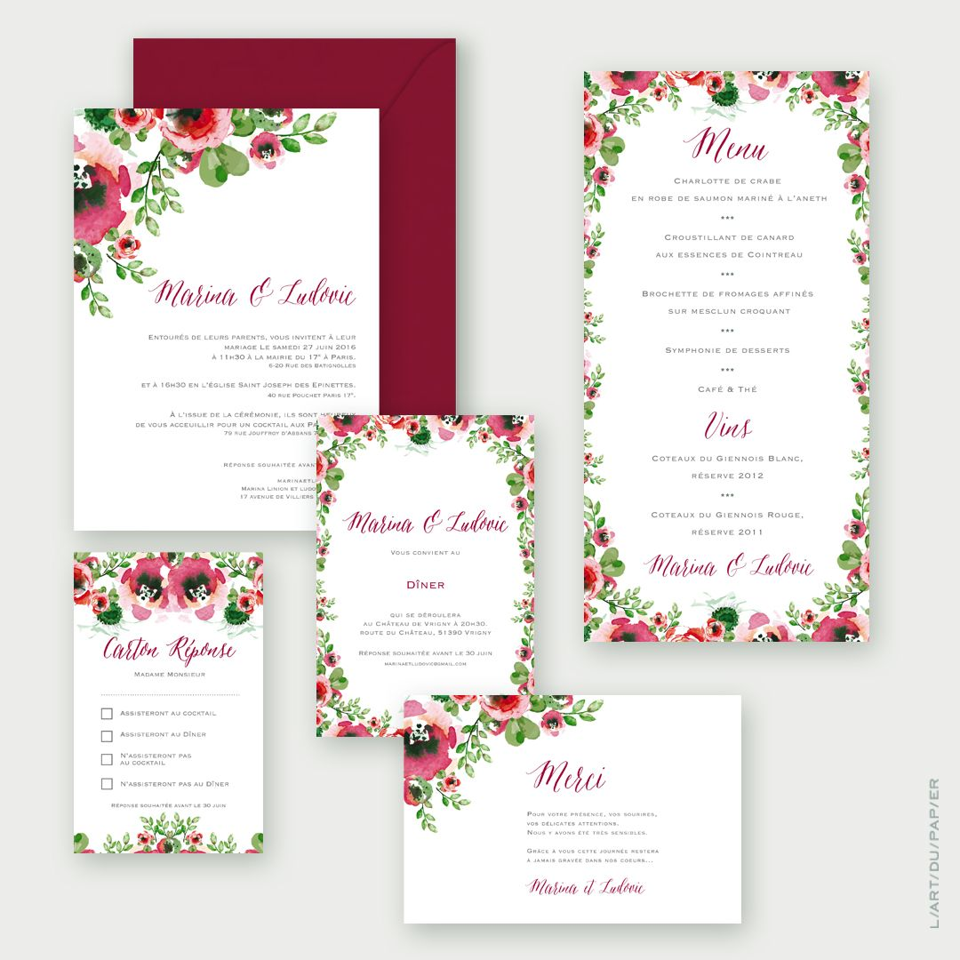 Faire Part De Mariage Wedding Invitation Fleur Aquarelle