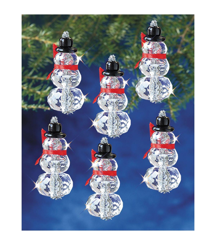 Holiday Beaded Ornament Kit Snow Crystals 3 1 2 Beaded Christmas Ornaments Christmas Ornaments Holiday Beading